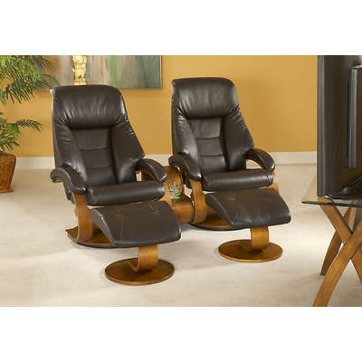 Oslo Collection 5-Piece Top-Grain Leather Swivel Recliner with Ottoman and Table Set - Espresso/Walnut