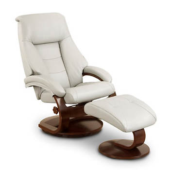 Oslo Collection Top-Grain Leather Swivel Recliner with Ottoman - Putty/Alpine