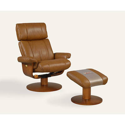 Oslo Collection Air Massage Top-Grain Leather Swivel Recliner with Ottoman - Saddle/Walnut