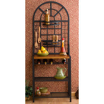 SEI Vault Wine Storage Baker's Rack - Black/Oak