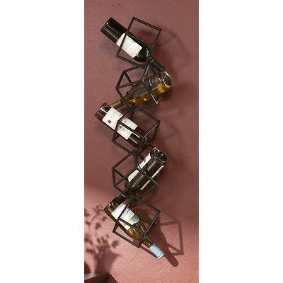 SEI Cube Wall Mount Wine Rack - Black