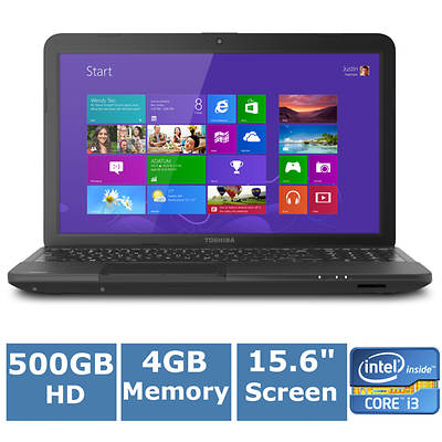 Toshiba Satellite C855-S5630 Laptop, 2.3GHz Intel Core i3-2348M Processor