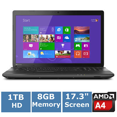 Toshiba Satellite C75D-A7213 Laptop, 1.5GHz AMD Quad-Core A4-5000M Accelerated Processor
