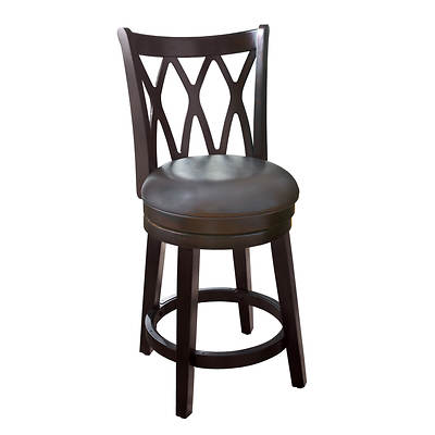 Home Meridian Kevin 24 Swivel Barstool - Brown/Espresso