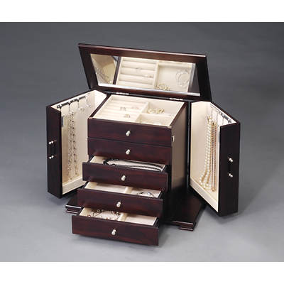 HomePointe Contemporary Wooden Jewelry Box - Java
