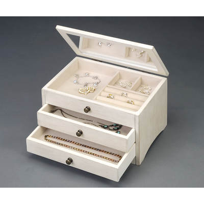 HomePointe Classic Wooden Jewelry Box - Antique White