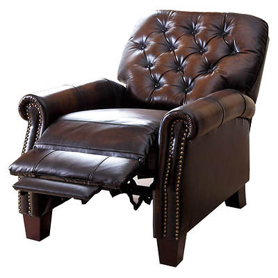 Abbyson Living Westbury Top-Grain Hand-Rubbed Leather Pushback Recliner - 2-Tone Brown