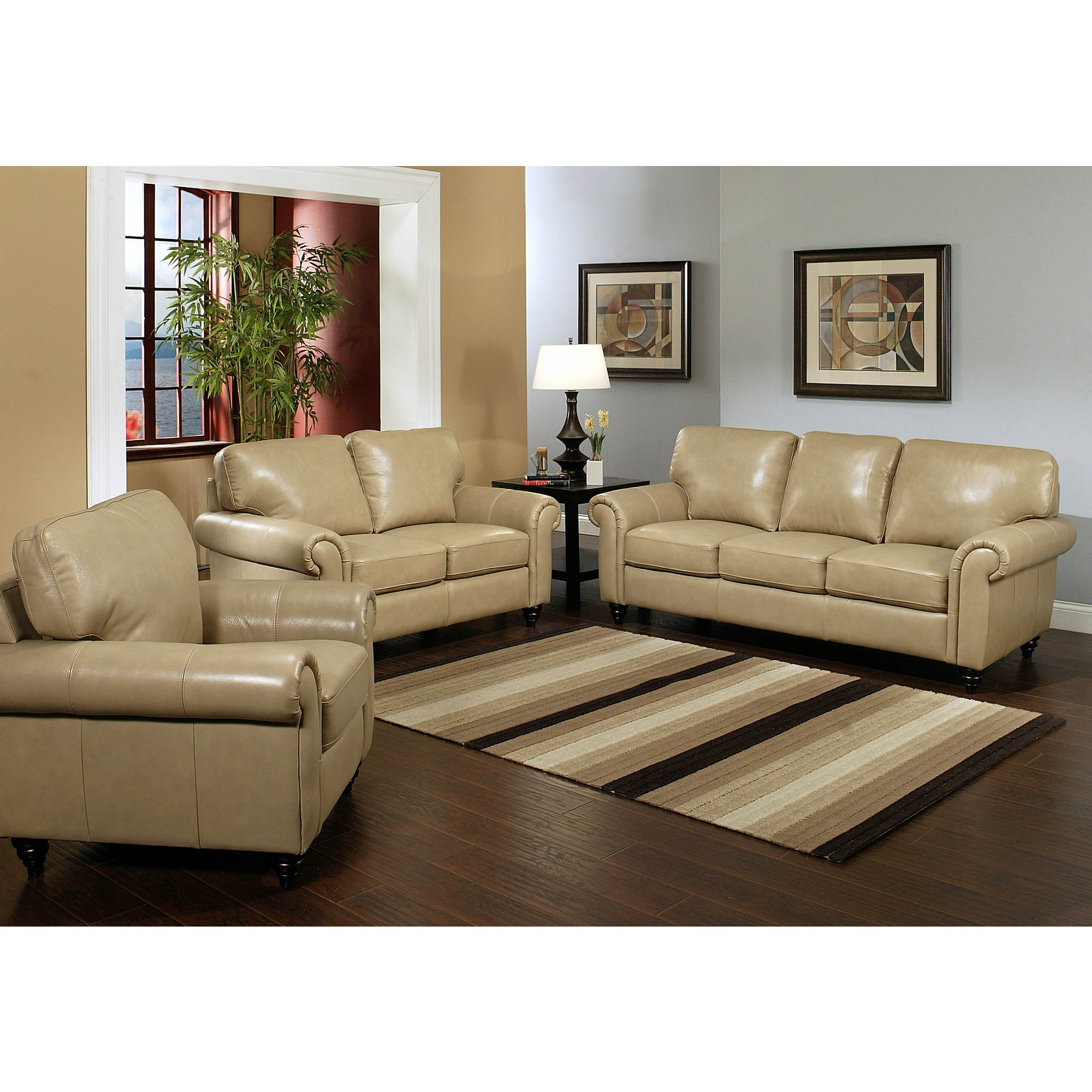 Abbyson living chelsea 3 pc top grain leather living room for Cheap 3 piece living room sets