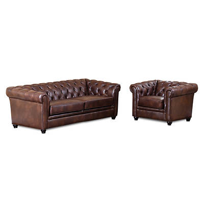 Abbyson living terrance 2 piece top grain leather living room set 2 tone chestnut brown bj 39 s 2 piece leather living room set