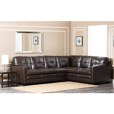 Abbyson Living York Premium Top-Grain Leather Sectional - Dark Brown