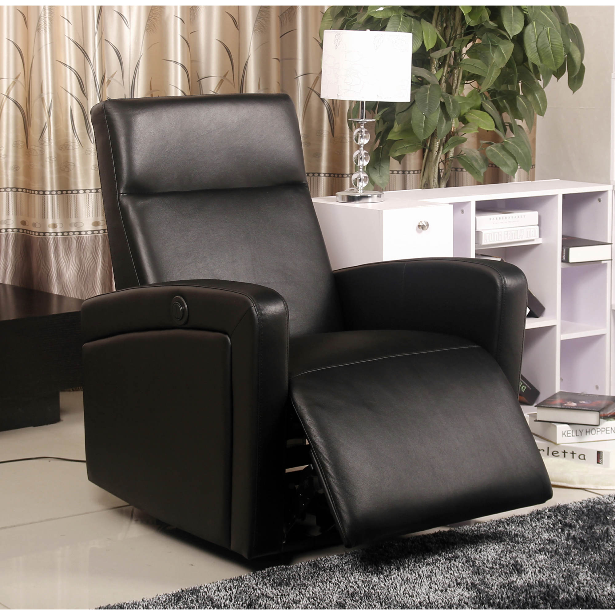 Abbyson living sage top grain leather recliner black for Abbyson living sedona leather chaise recliner