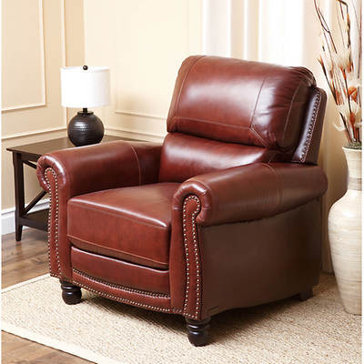 Abbyson Living Bernice Hand-Rubbed Top-Grain Leather Recliner - 2-Tone Brown