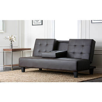 Abbyson Living Wesley Convertible Sofa - Dark Brown