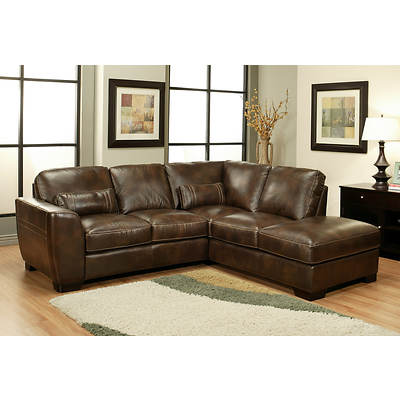 Abbyson Living York Top-Grain Leather Sectional - 2-Tone Brown