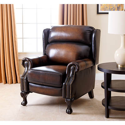 Abbyson Living Garrett Hand-Rubbed Top-Grain Leather Recliner - 2-Tone Rustic Brown