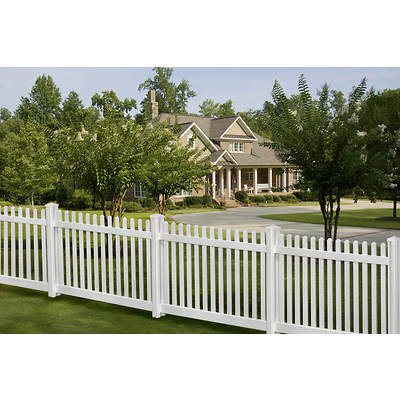 WamBam Traditional 70' x 4' Premium Vinyl Classic Picket Fence Panel with Post and Cap, 10-Pk - White