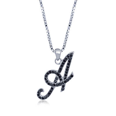 .25 ct. t.w. Black Diamond Initial Pendant Necklace in Sterling Silver