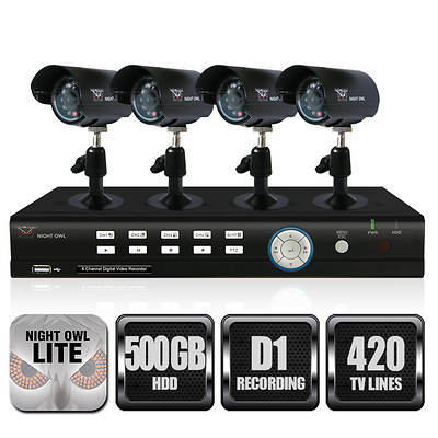 Night Owl 4-Channel H.264 DVR with 500GB Hard Drive and 4 Night Vision Cameras