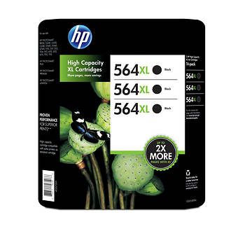 HP 564XL Black Ink Cartridges, 3 Pack