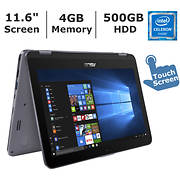 ASUS VivoBook Flip 12 2-in-1 Laptop, Intel Dual-Core Celeron N3350 Pro