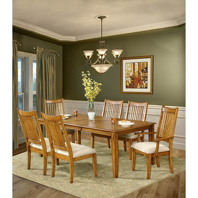 south furnishings banebridge 7 piece dining set neutral light oak