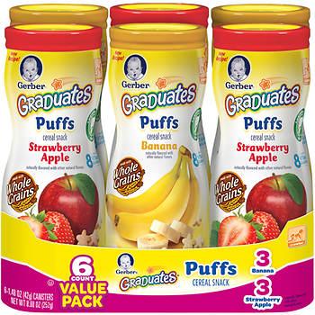 Gerber Graduates Puffs Cereal Snack, 6 pk./1.5-oz.