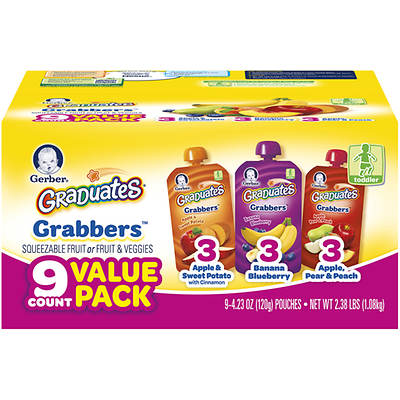 Gerber Graduates Grabbers Squeezable Fruit or Fruit & Veggies, 4.23-Oz., 9-Pk