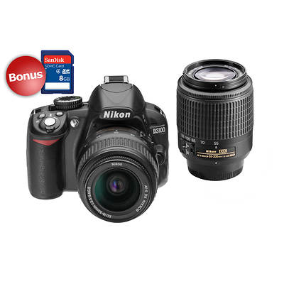 "Nikon D3100 14MP 3"" LCD Digital SLR Camera, 18-55mm and 55-200mm Lenses, Bonus 8GB SDHC Card"