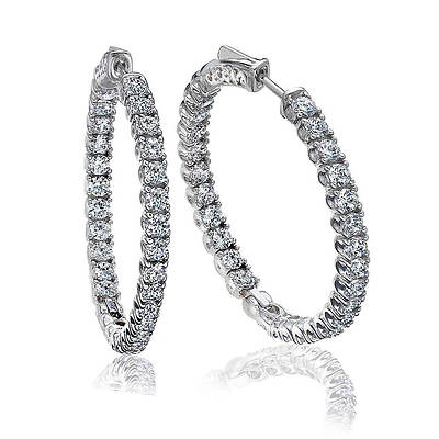 5.00 ct. t.w. Diamond Inside Outside Hoop Earrings in 14K White Gold