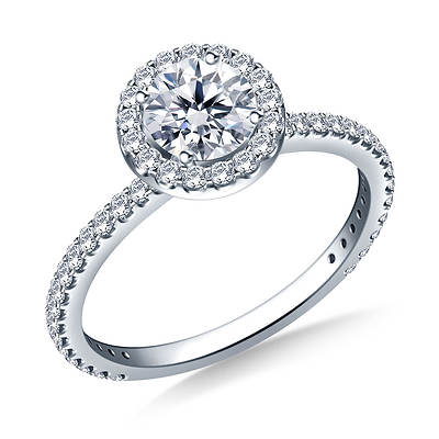 1.00 ct. t.w. Round Diamond Halo Engagement Ring in 14K White Gold