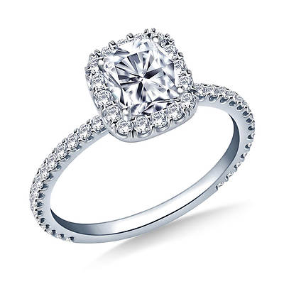 1.00 ct. t.w. Cushion-Cut and Round Diamond Halo Engagement Ring in 14K White Gold