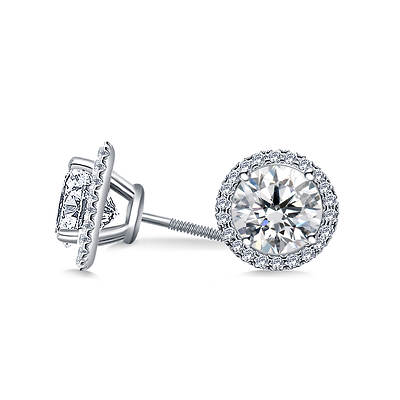 .50 ct. t.w. Round Diamond Pave Halo Stud Earrings in 14K White Gold