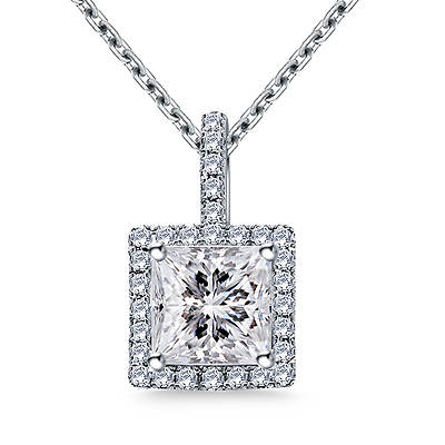 1.00 ct. t.w. Princess-Cut and Round Diamond Halo Pendant Necklace in 14K White Gold
