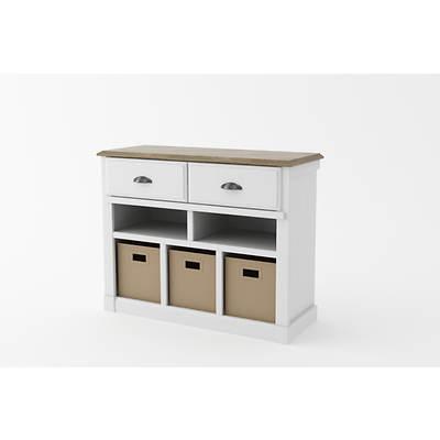 Ameriwood Entryway Storage Unit with Storage Bins - Federal White/Sonoma Oak