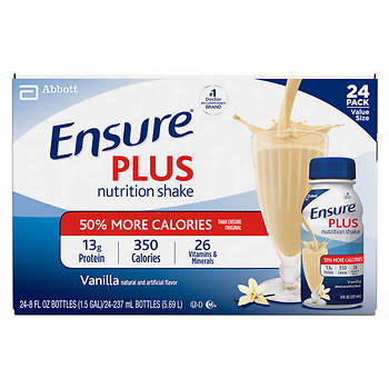 Ensure Plus Vanilla Shake, 24 pk./8 fl. oz.