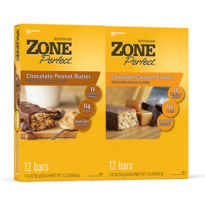 Zone Perfect Chocolate Peanut Butter and Chocolate Carmel Cluster Multipak, 24-Pk