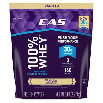 EAS 100% Vanilla Whey Protein Powder, 5 lbs.