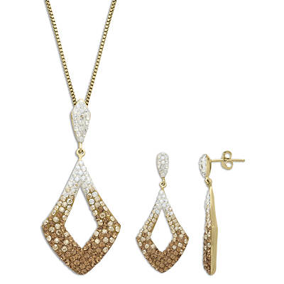 Lauren Taylor 3.50 ct. t.w. Swarovski Elements Necklace and Earrings Set in Gold-Plated Sterling Silver
