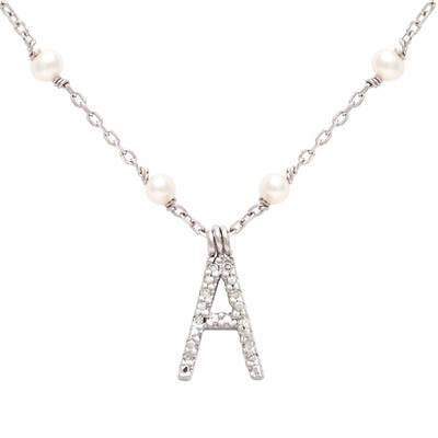 3mm White Cultured Freshwater Pearl and Diamond Accent Initial Pendant Necklace in Sterling Silver