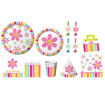 Paper Art Pink Flower Cheer Birthday Party Kit