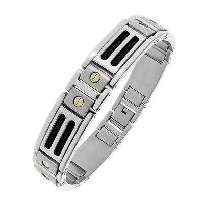 Men's Stainless Steel and 10K Yellow Gold Screw Accent Bracelet with Black Cables Inlay