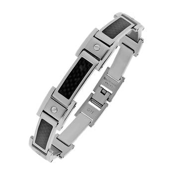 Men's Stainless Steel Bracelet with Carbon Fiber Accent