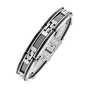 Men's Stainless Steel Bracelet with Rubber Highlights and Cable Inlay