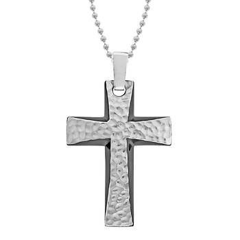 "Men's Stainless Steel Hammered Design Cross Pendant with Black IP and 22"" Ball Chain"