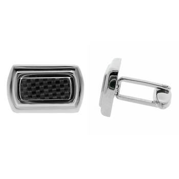 Men's Stainless Steel Cuff Link with Carbon Fiber