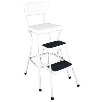 Cosco Products Retro Counter Chair/Step Stool with Pull-Out Steps - White