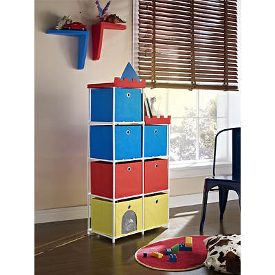 Altra Furniture 7-Bin Castle Storage Unit - Red, Blue and Yellow/White