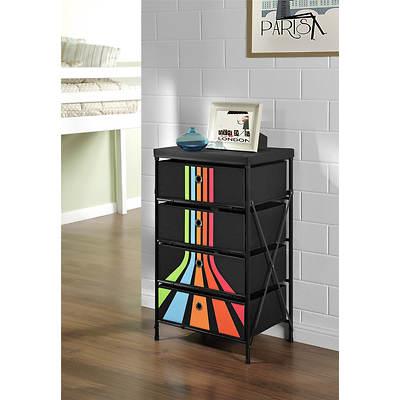 Altra Furniture 4-Bin Stripe Storage Unit - Black, Green, Blue, Peach, Orange and Pink/Black