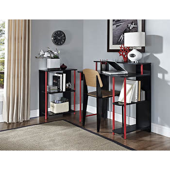 Altra Furniture Computer Desk and Bookcase Bundle - Black/Red