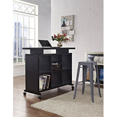Altra Furniture Multipurpose Standing Desk with Shelves - Espresso